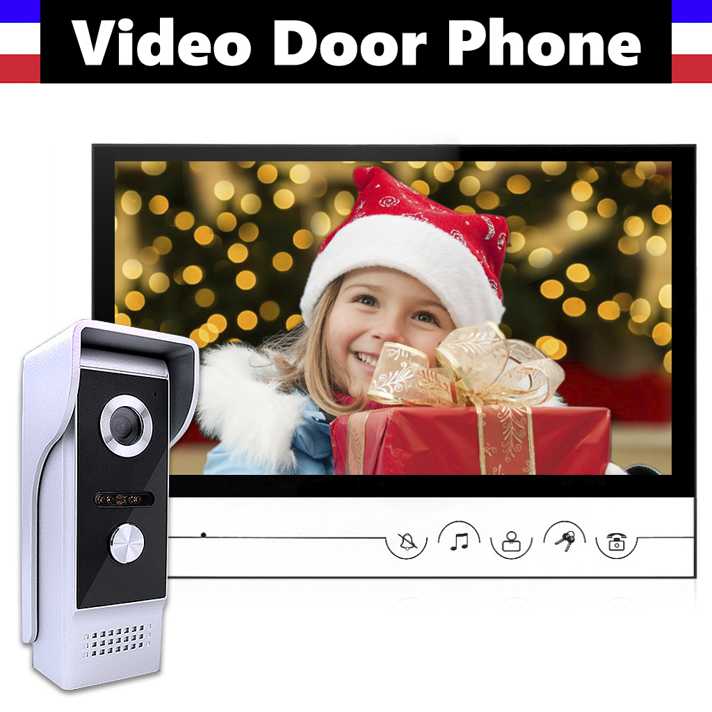 "9"" Screen Video Door Phone System Wired Video Doorbell Intercom Kits Clear Night-viewing, 24 Hours Monitoring, Calling, Speaking"