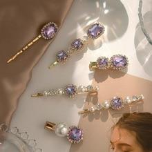 New Women Girls Luxury Purple Crystal Barrettes Sweet Hair Ornament Clips Elegant Hairpins Headband Fashion Hair Accessories