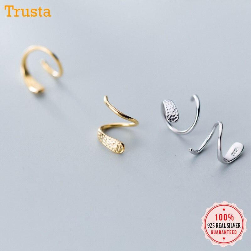 Trust davis 100% 925 argent Sterling femmes serpent oreille os boucle d'oreille anneau étroitement emballé Mini Double anneau boucles d'oreilles DA266