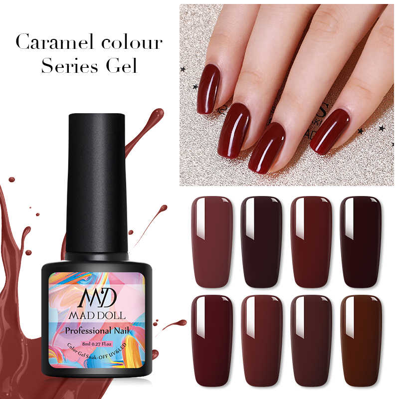 Gila Boneka Caramel Series Gel Polish Rendam Off Uv Gel Varnish Warna-warni ONE-Shot Nail Art Desain DIY Dekorasi pernis