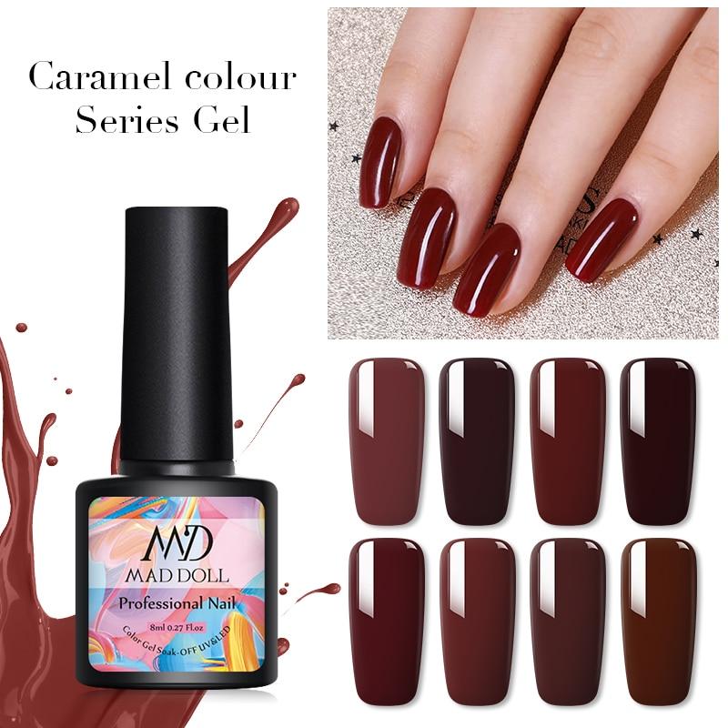 MAD DOLL Caramel Series Gel Nail Polish Soak Off UV Gel Varnish Pure Nail Color One-shot Nail Art Gel Lacque DIY Design