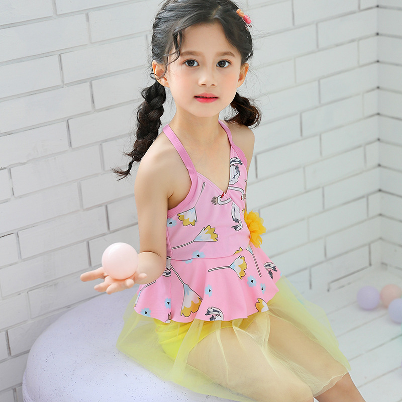Girl'S Swimsuit Hipster Korean-style Mesh Dress Back Cross Boxer Children Two-piece Swimsuits Swimming Suit Wholesale