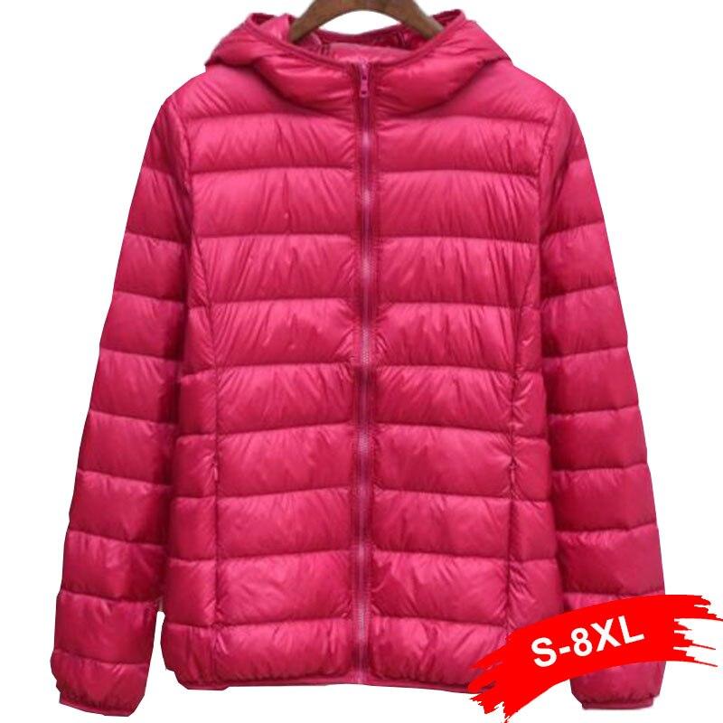 Winter Plus Size Womens Hoody Duck Down Jackets 5XL 6XL 4XL 7XL Short Ultra Light Down Doat Hooded Puffer Jacket Autumn Parkas