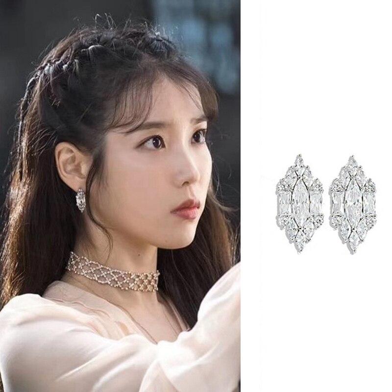 2019New DEL LUNA Hotel IU coreano TV estrella personalidad brillante cristal pendientes de tachuela para mujer declaración joyería Vintage Brincos
