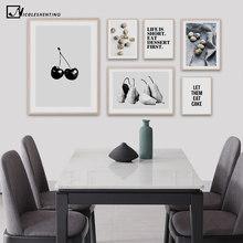 Cartel minimalista de fruta, fruta, pera, Berry, impresión artística de pared de cocina, lienzo Simple, pintura cuadro moderno, decoración para comedor