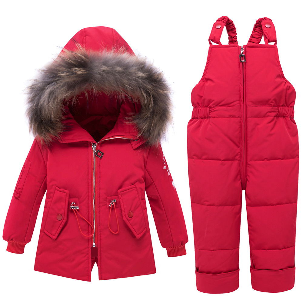 -30 Degree Thick Warm Baby Snowsuit Two-Piece Hooded Drawstring Down Jacket+Jumpsuit Toddler Boy Girl Winter Outfits Suits Z644