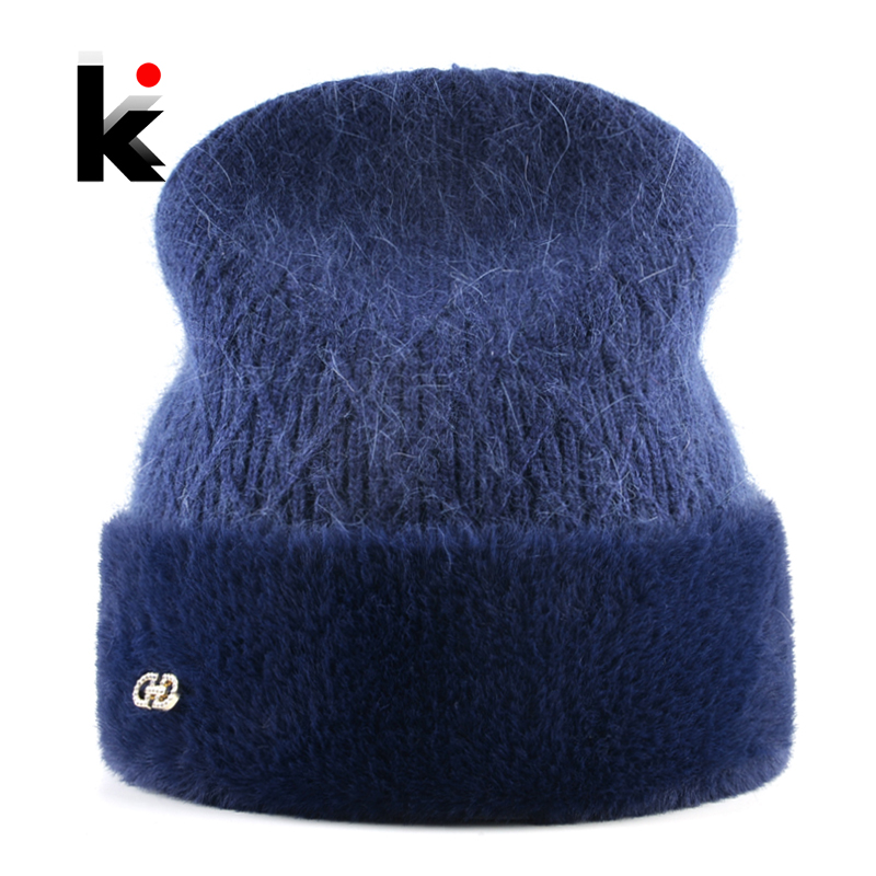 Knitted Wool Hat For Women Winter Warm Rabbit Fur Beanie Ladies Elegant Skullies Cap With Rhinestones High Quality Female Bonnet