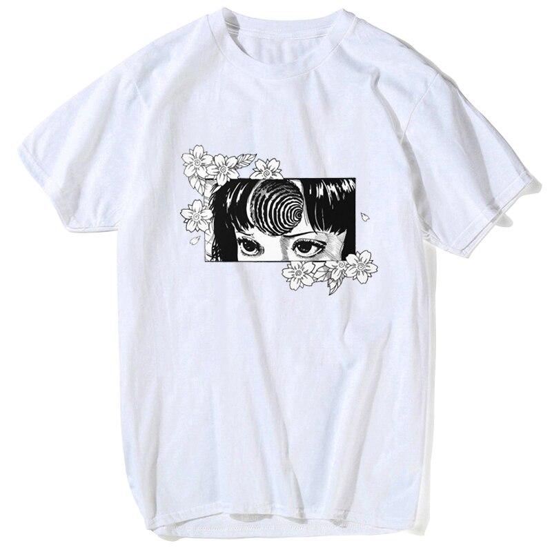 Japan Anime Manga Flower Junji Ito T-Shirt Unisex Short Sleeve White Summer Loose Tops Brand New 2019 Summer Men Casual T Shirt(China)