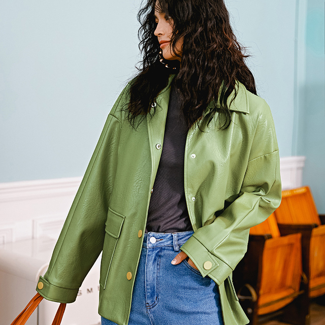 Ailegogo New Women Loose Pu Faux Soft Leather Green Jacket Turndown Collar Biker Overcoat Single Breasted Pocket Coat With Belt 1