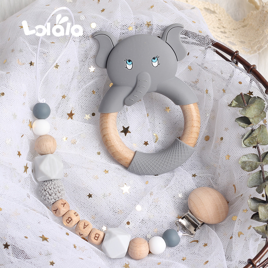 Personalized Custom Pacifier Clip Chain Beech Beads Silicone Elephant Pendant Baby Teething Nursing Clips Chain Christmas Gift