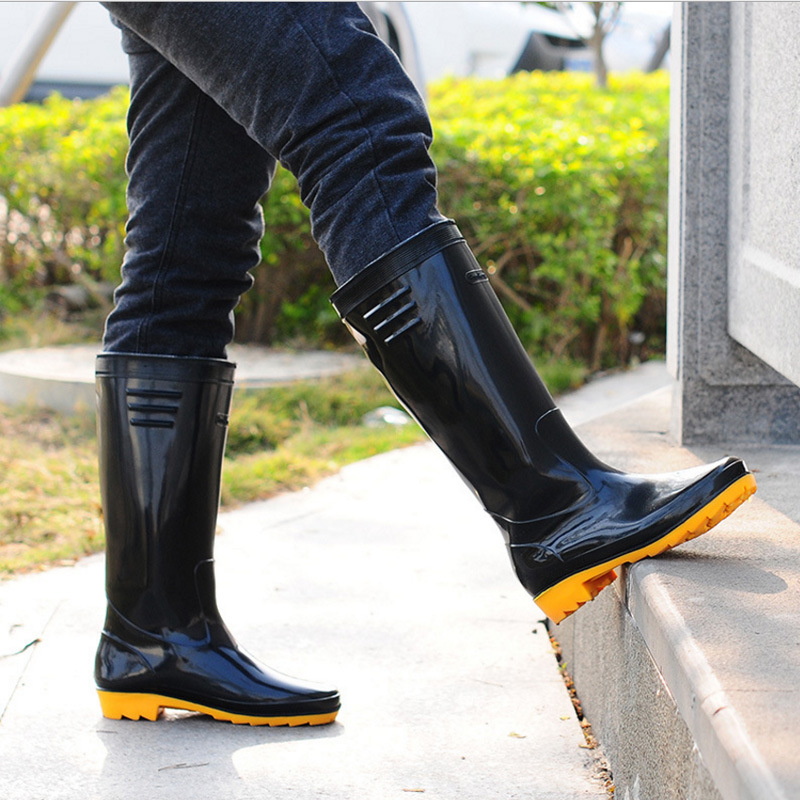Plus Velvet Beef Tendon Bottom Rain Boots Men Kitchen Water Boots Gao Cylinder Non-slip Wear Resistant Water Shoes Construction