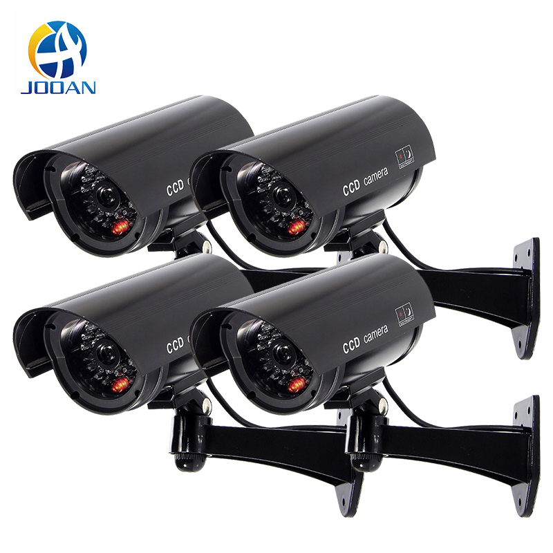 Dummy Camera 4 Pack Outdoor Fake Dummy Security Camera LED Light CCTV Surveillance False Camera Black