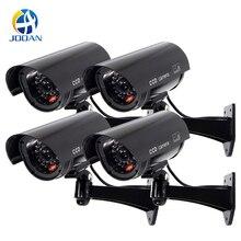 Dummy Camera 4 Pack Outdoor Fake Dummy Security Camera LED Light CCTV Surveillance False Camera Black