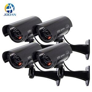 Image 1 - Kukla kamera 4 paket açık sahte kukla güvenlik kamera LED ışık CCTV gözetim yanlış kamera siyah