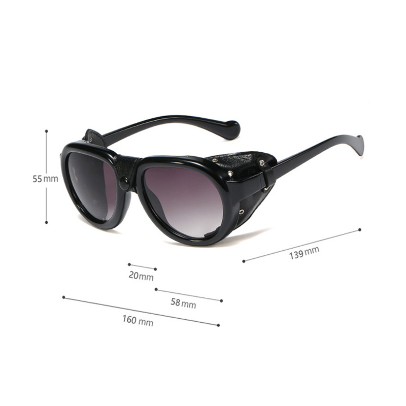 JASPEER PU Leather Frame Punk Sunglasses For Men 2019 Brand Black Steampunk Round Eyewear Women Vintage Rivet Button Sun Glasses in Men 39 s Sunglasses from Apparel Accessories