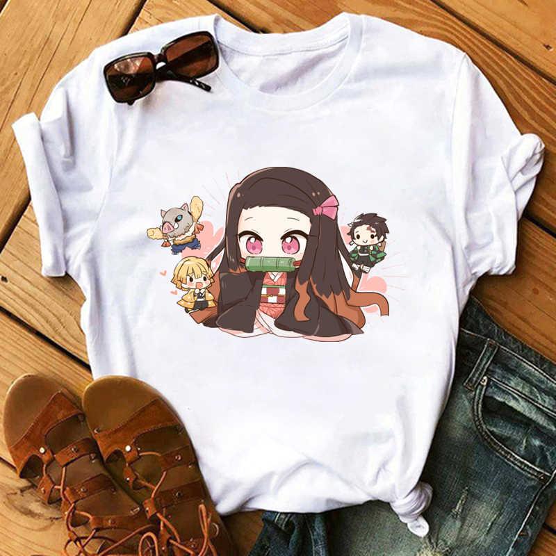 Maycaur Streetwear japon animesi T-shirt serin grafik baskılı üstleri Tees Tshirt komik karikatür rahat kısa kollu tişört kadın