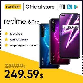 Перейти на Алиэкспресс и купить Realme 6 Pro Unlockphone 8 ГБ ОЗУ 128 Гб ПЗУ мобильный телефон Snapdragon 720G 4200 мАч аккумулятор 30 Вт быстрая смена смартфонов с камерой 64 мп