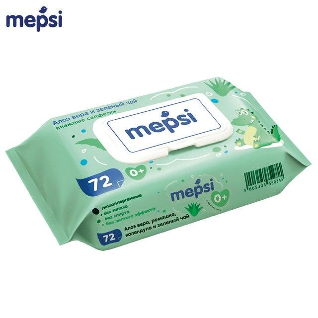 Влажные салфетки MEPSI детские Алое Вера и Зеленый чай 72 шт.