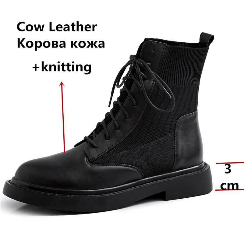 Image 3 - FEDONAS New Patchwork Genuine Leather Knitting Short Boots Women Ankle Boots Office Shoes Woman 2020 Winter Warm High Heels-in Ankle Boots from Shoes
