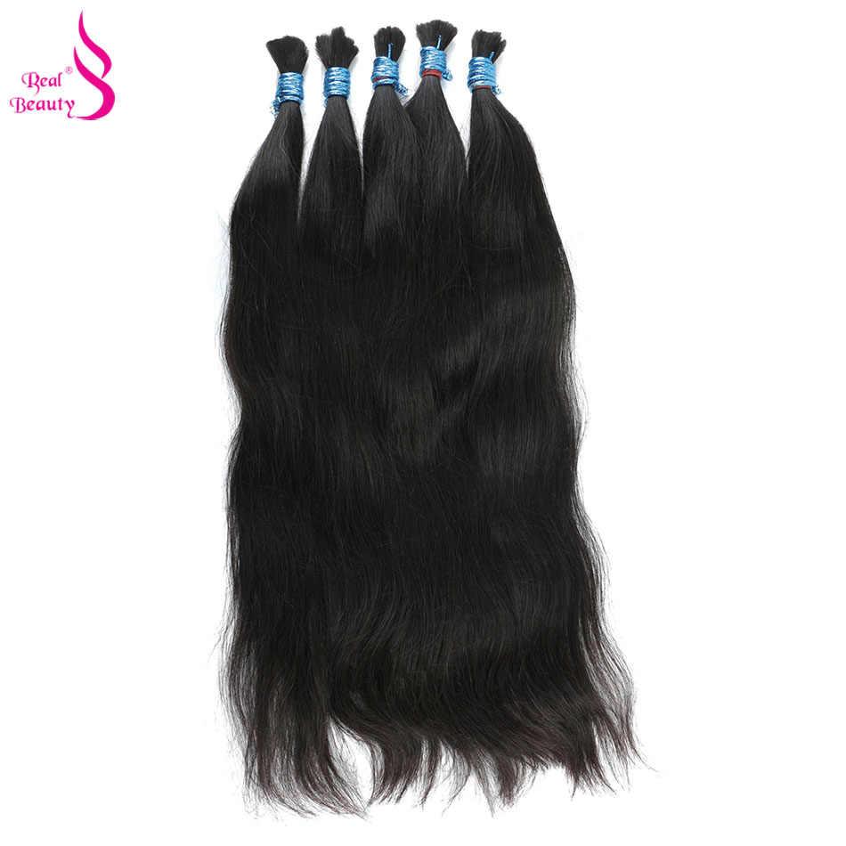 Echte Schoonheid Remy Human Hair Braziliaanse Straight Bulk Haar Voor Vlechten Natuurlijke Kleur Geen Inslag Gehaakte Vlechten