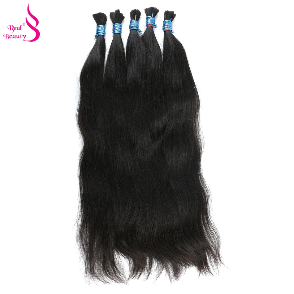 Real Beauty Remy Human Hair Brazilian Straight Bulk Hair For Braiding  Natural Color No Weft Crochet Braids