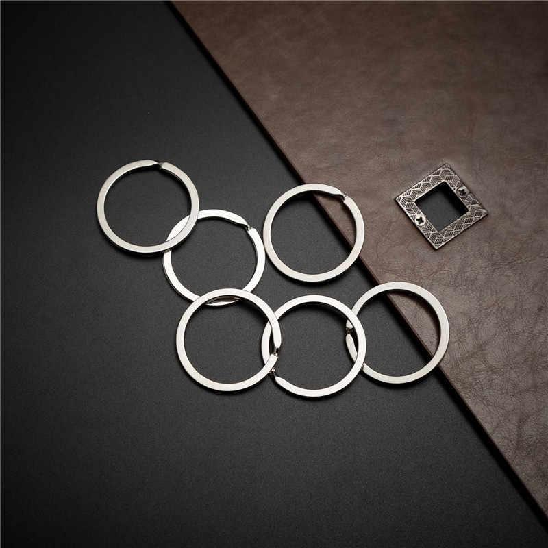 10pcs 32 มม.พวงกุญแจโลหะเงินสีแยกแหวนนิกเกิลเข็มทิศ Key FOB DIY อุปกรณ์เสริม P003