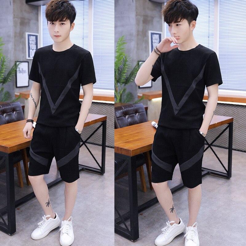 2019 Summer New Style Men Crew Neck Joint Korean-style Slim Fit Short Sleeve T-shirt Shorts Set Men's Wear