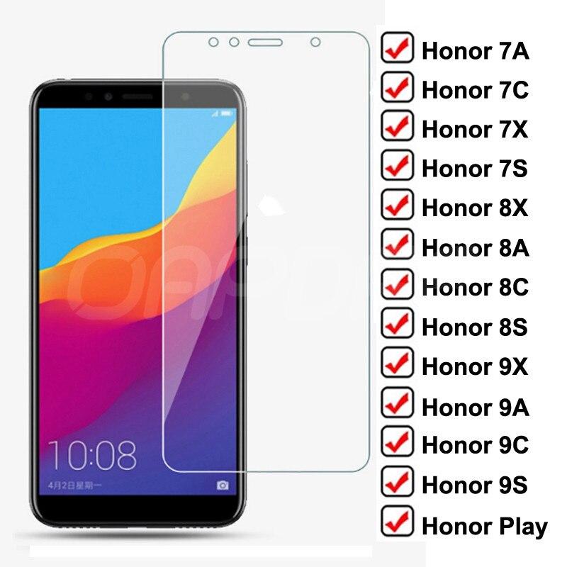 Защитное стекло 9H для Huawei Honor 7A 7X 7C 7S, закаленное стекло для защиты экрана Honor 9X 9A 9C 9S 8X 8A 8C 8S Play, стеклянная пленка