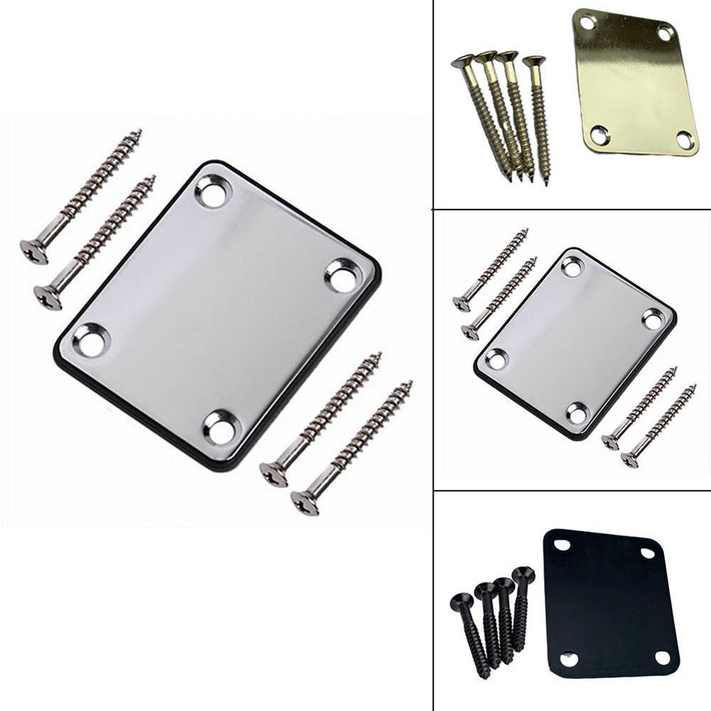 1pc Professional Steel Electric Metal Screw Neck Plate St Electric Guitar Square Piano Neck Body Connecting Steel Plate