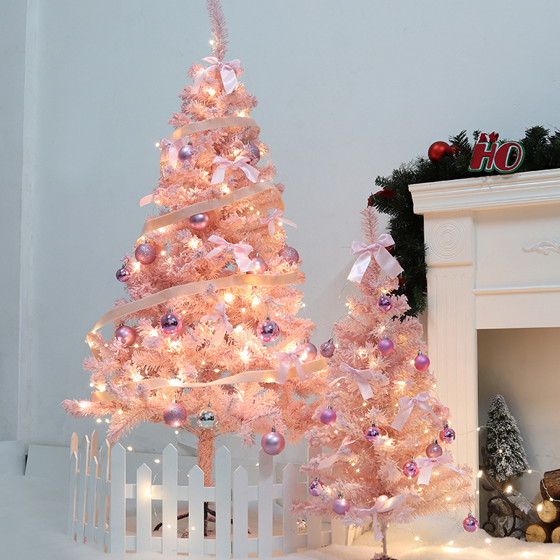 Christmas Online Celebrity INS-Style Pink Flocked Christmas Tree Shopping Mall 1.2 M 1.5m Combo Showcase Home Decoration