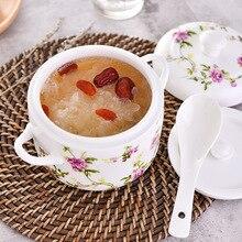 Stew Tureen мультяшная чашка маленькая Медленная Плита керамическая двойная ручка двойное покрытие Птичье гнездо Медленная Плита Водонепроницаемая Медленная Плита внутренняя Wea