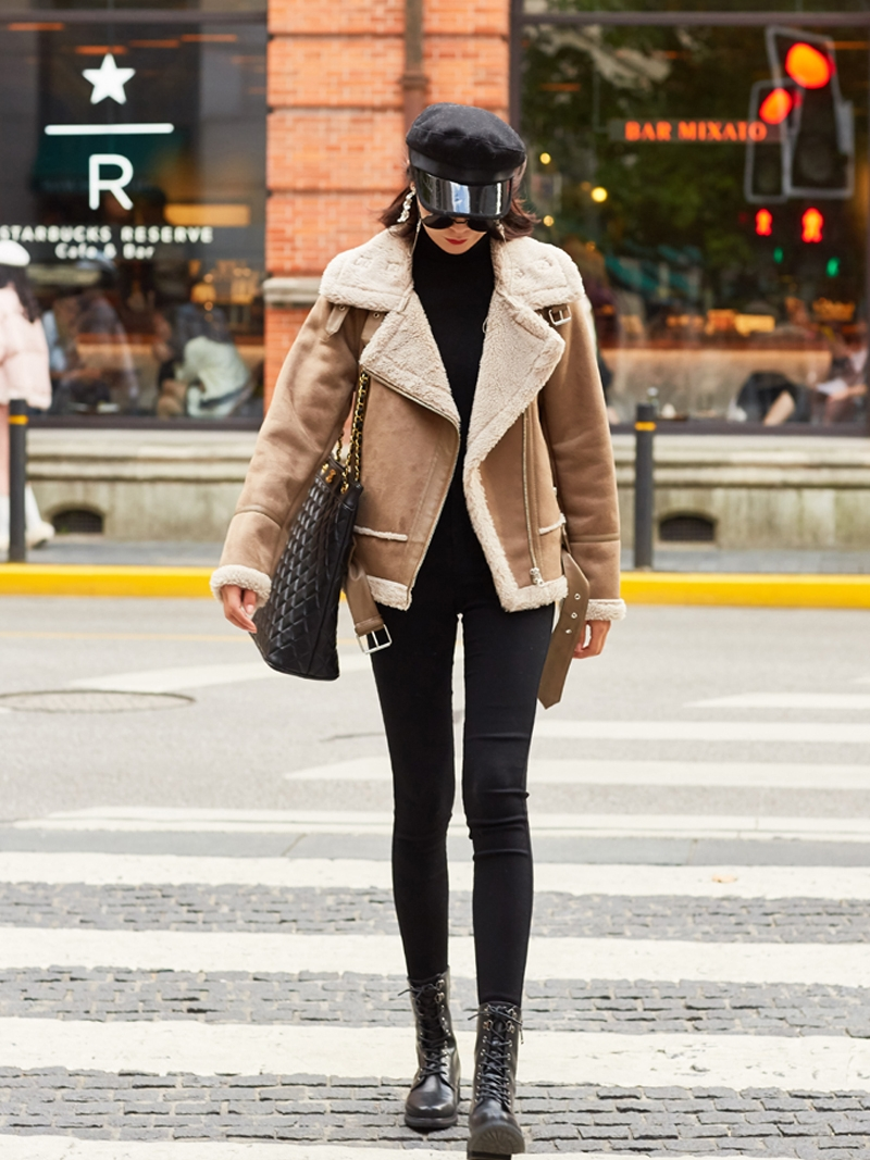 DBYCOOL Winter Suede Lamb Fur Coat Women New Motorcycle Jacket Turn-down Collar Thick Sheepskin Coat Loose Female Jacket 486468