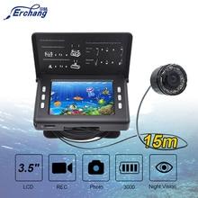 Détecteur de poisson caméra de pêche sous marine 3.5 pouces écran 15M câble 8 pièces lampe infrarouge caméra denregistrement vidéo pour la pêche