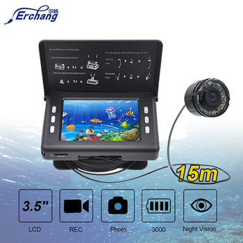 цена на Fish Finder Underwater Fishing Camera 3.5 Inch Screen 15M Cable 8PCS Infrared Lamp Video Record Camera For Fishing