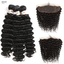 Remy Forte Deep Wave Bundles With Closure 30 Inch Frontal Brazilian Hair Weave 3/4