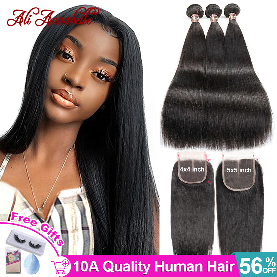 ALI ANNABELLE Straight Hair Bundles With Closure Brazilian Human Hair Bundles With Closure