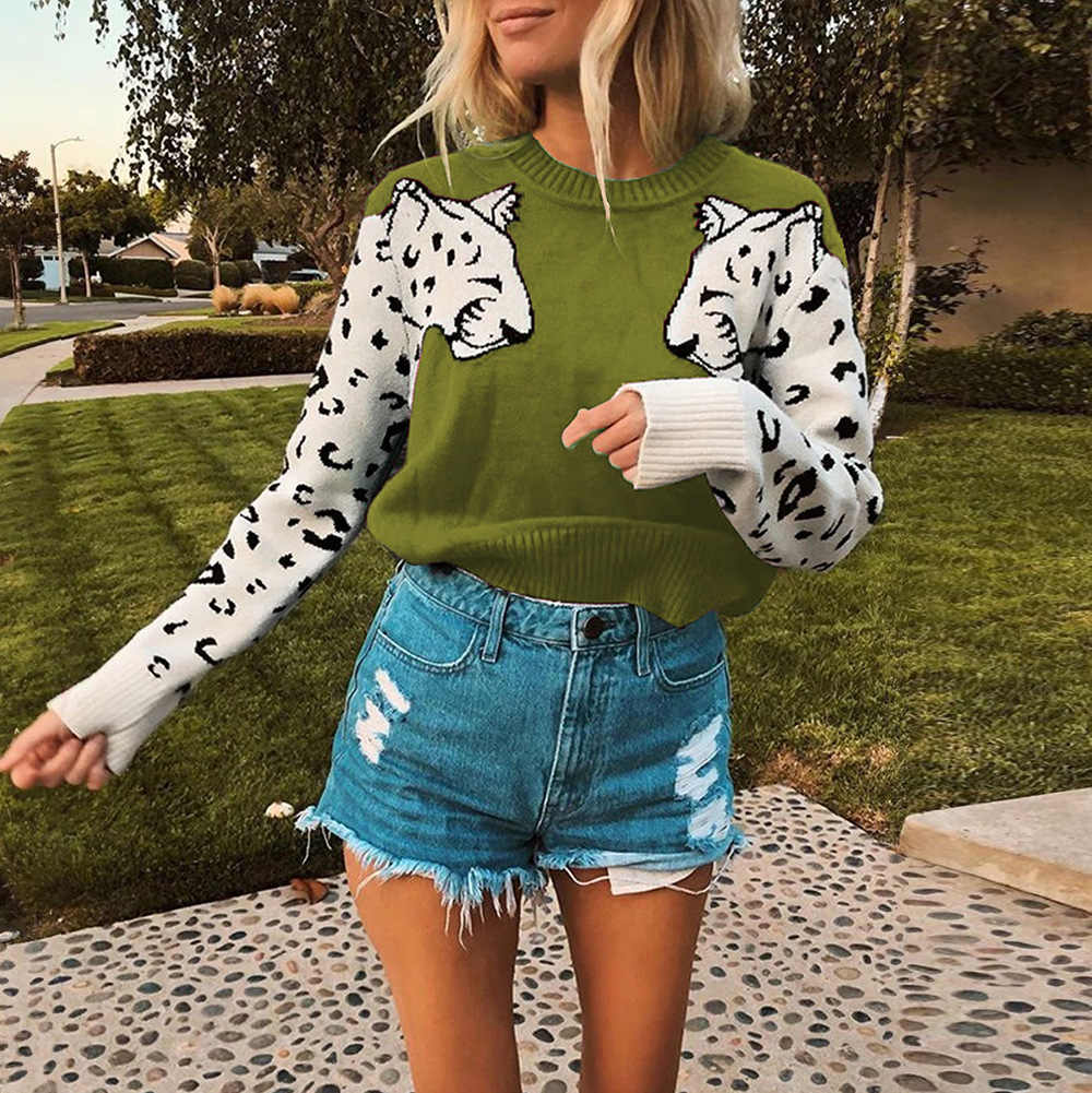 Leopard Sweater Woman New 2019 Autumn Knitted Korean Style Slim Warmer Sweater For Women Elastic Casual Female Soft Pullovers