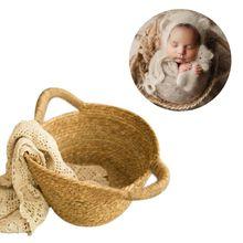 Тканые корзины для фотосъемки новорожденных детей реквизит для фотосъемки с полной луной