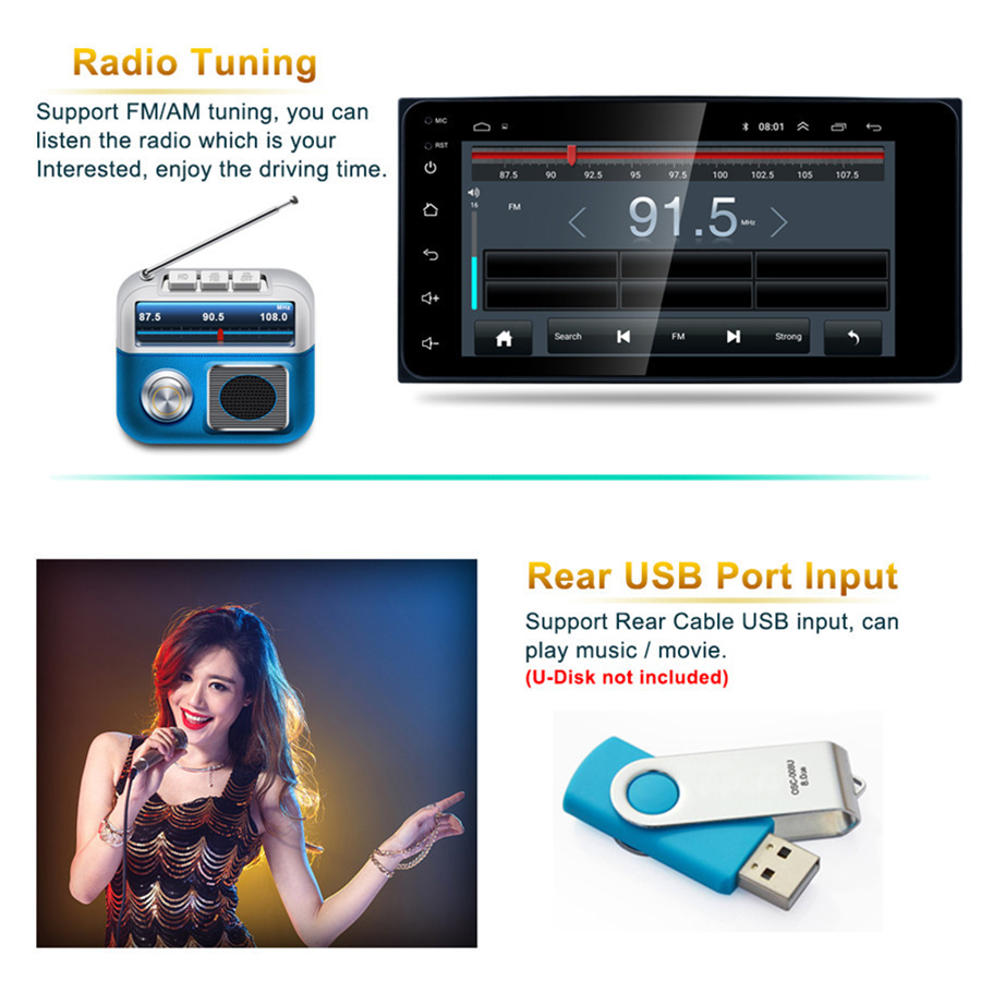 7 Android 8.1 Auto MP5 Speler Touch Screen QUAD core Wifi Verbinding GPS Navigatie DAB FM/AM radio Tuner voor TOYOTA - 4