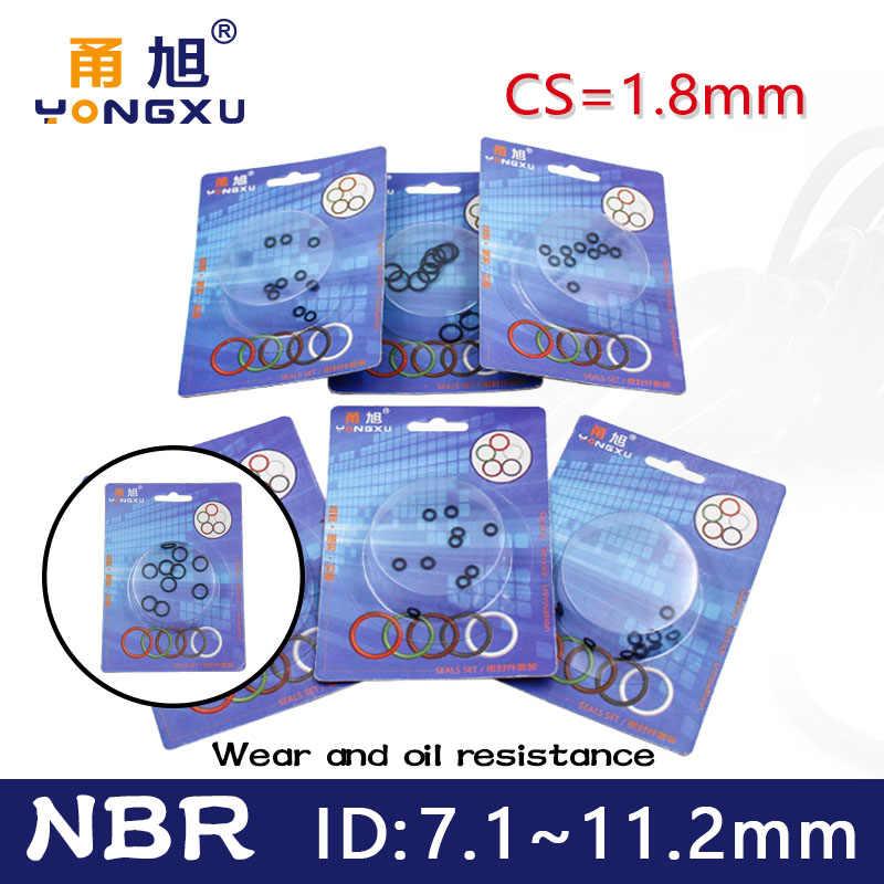 箱入りニトリルゴム nbr シール o リング厚さ cs 1.8 ミリメートル id 7.1/7.6/8/8。5/9/9。5/10/10。6/11。2 ミリメートルガスケット論理和耐油性