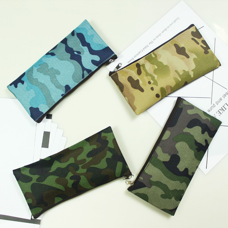 School Office Cases Boy Student Supplies Lpis Kawaii Cute Camouflage Small Pencil Case Pen Box Bag Stationery Storage Bag 05159