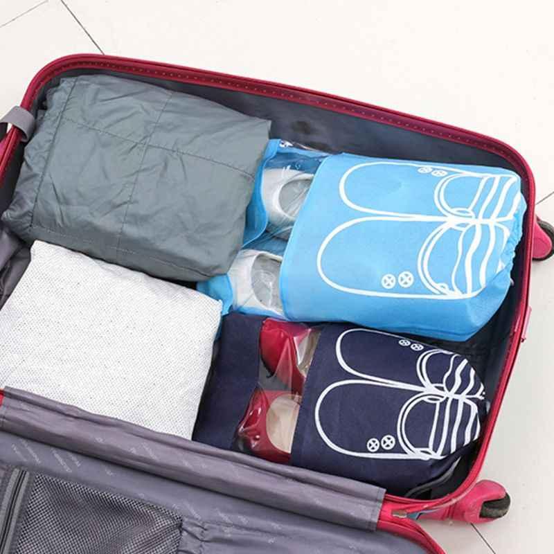 2 tamaños grandes zapatos impermeables bolsa de almacenamiento bolsa de viaje portátil con cordón no tejido organizador de embalaje cubierta a prueba de polvo guerra