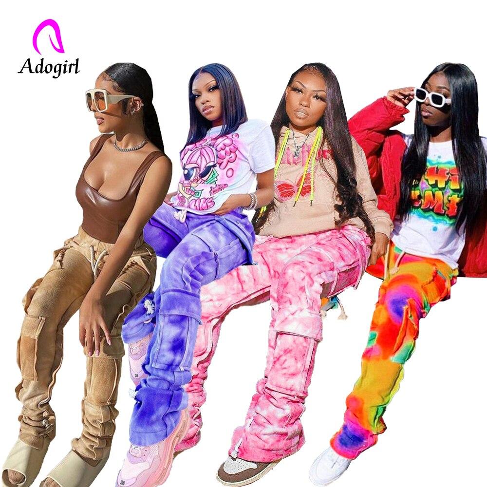 Cravate colorant impression poche à lacets cordon empilé pantalons de survêtement 2021 femmes hiver décontracté Sport pantalon pantalon Streetwear Cargo pantalon