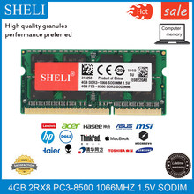 Shgi 4gb 2rx8 DDR3L-8500S 1.5v 1066mhz sodimm, memória ram do portátil