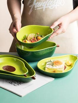 Kreatywny talerz awokado ceramiczne zastawy stołowe naczynia domowe przekąska deser owocowy talerz sałatkowy awokado miska zestawy naczyń porcelanowych tanie i dobre opinie CN (pochodzenie) Snack Plates
