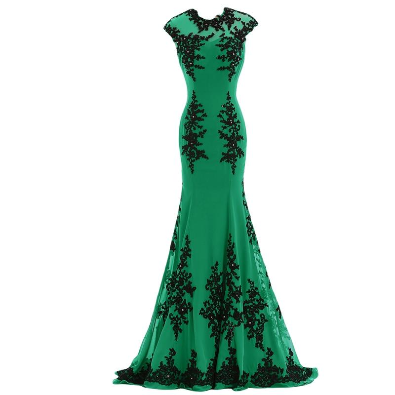 2018 Vestido De Noiva Emerald Green Arabic Style Evening Gown Mermaid Black Lace Applique Sample Mother Of The Bride Dresses