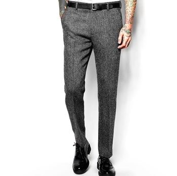 Spring Autumn Vintage England Style Thick Wool Gray Woolen Suit Pants Slim Fit Straight Twill Trousers Large Size E34