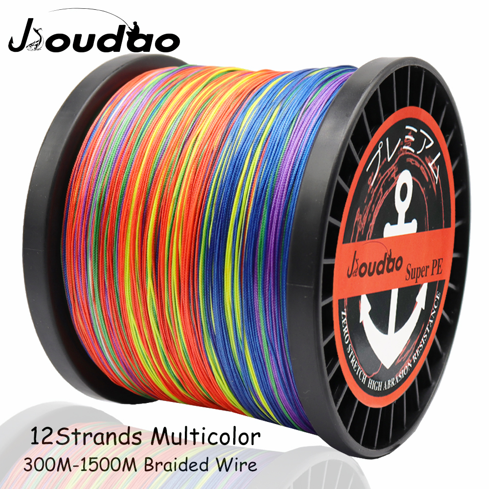 Jioudao Fishing Line 12 Strands Multicolor Braided Wire Smooth Multifilament PE Fishing Line 35LB-180LB for Carp Fishing