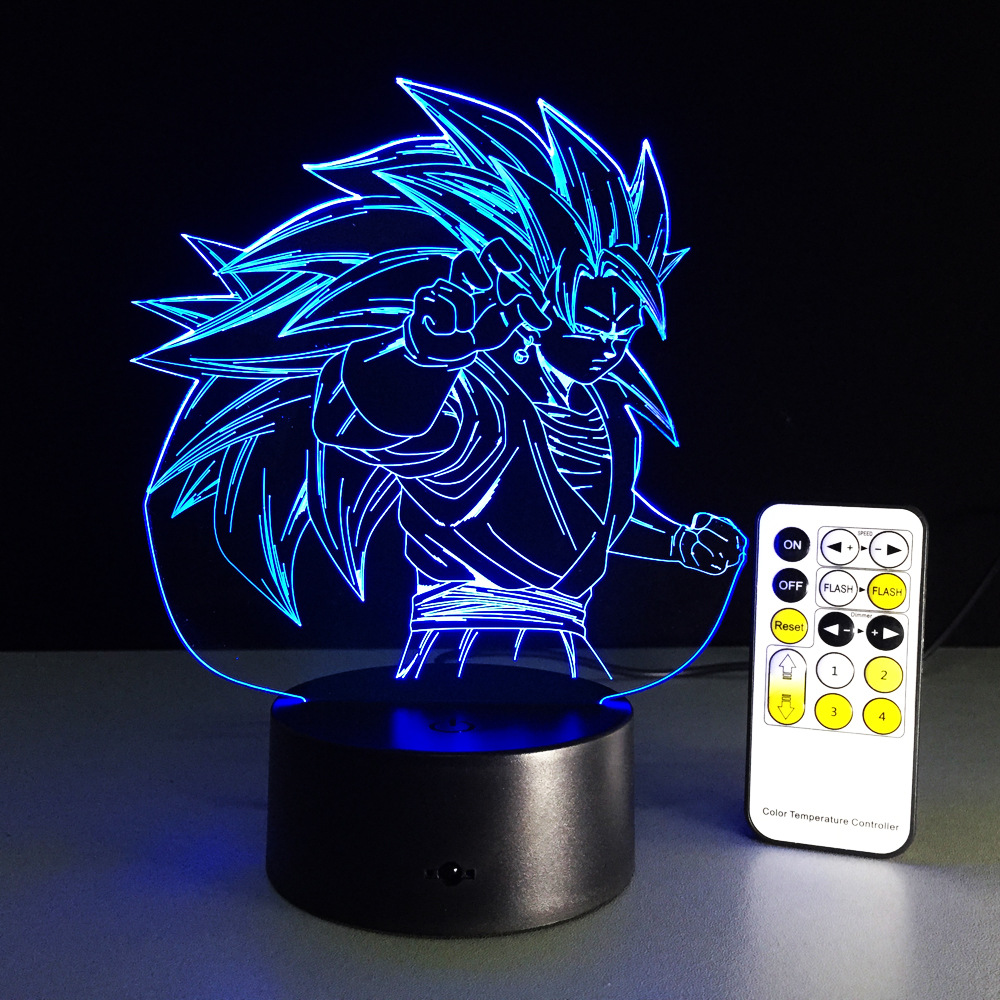 <font><b>Dragon</b></font> <font><b>Ball</b></font> Z 3D Night Light For Bedroom Baby Gift Goku Kamehameha <font><b>Lamp</b></font> Desktop Decoration 16 Color Remote Control Night <font><b>Lamp</b></font> image