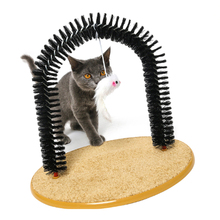 Cat Toy Pet Cat Self Groomer With Cat Itching Device Round Fleece Base Cat Toy Brush Toys Cat Scratching Devices Pet Supplies все цены